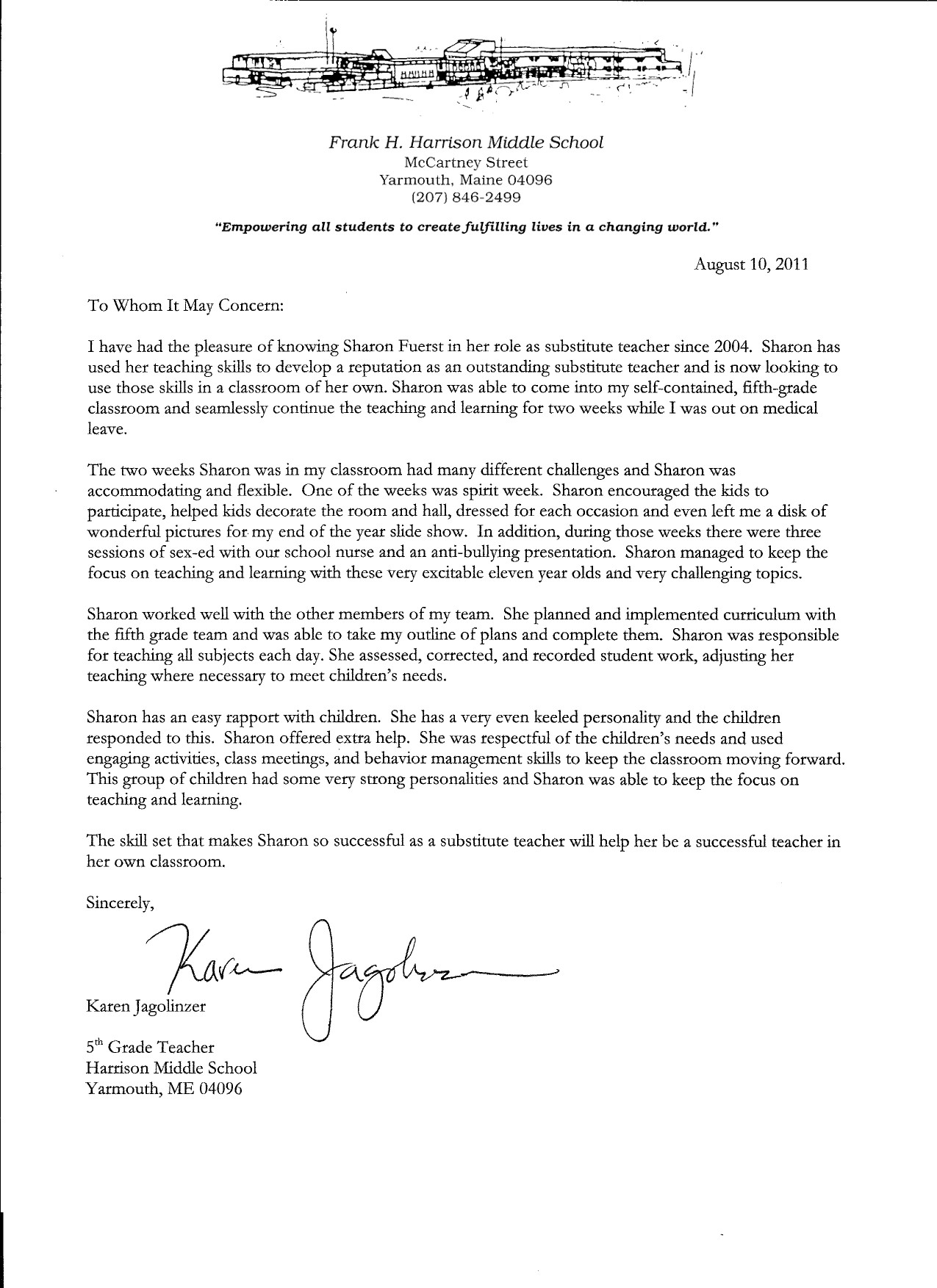 Letter Of Recommendation For A Teacher Letter Of Recommendation From